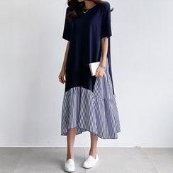 PIPPIN - Color-Block Ruffle-Hem Dress