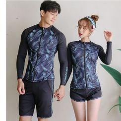 Summer Siren - Couple Matching Set: Color Block Rash Guard + Shorts