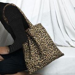 Basaran(バサラン) - Leopard Print Canvas Tote Bag / Leopard Print Crossbody Bag