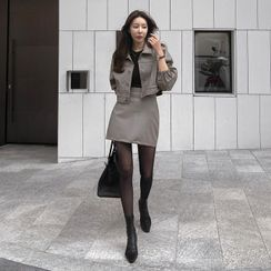 DABAGIRL - Fleece-Lined Set: Faux-Leather Jacket + Mini A-Line Skirt