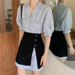 Shopherd - 短袖条纹迷你衬衫裙 / 纯色迷你A字裙