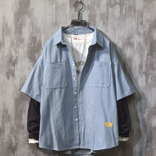 Beiluofs - 条纹假两件衬衫