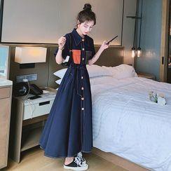 Jeonseon - Short-Sleeve Color Block Midi Shirt Dress