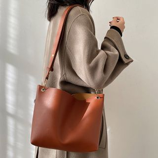 Ninorch - Plain Faux Leather Crossbody Tote Bag