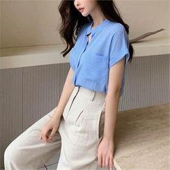 Styleberry - Cuffed-Sleeve Stripe Blouse