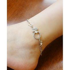 Miss21 Korea - LOVE Lettering & Heart Chain Anklet
