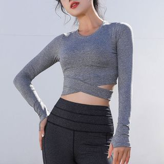 Wontto - Long-Sleeve Cropped Sports T-Shirt