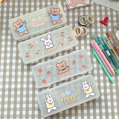 Eranso - Animal Print 2 Layer Plastic Pencil Case