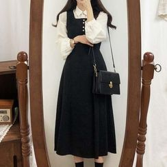Leoom - Plain Long-Sleeve Blouse / Midi A-Line Pinafore Dress
