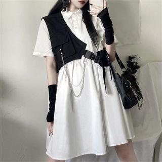 LINSI - One-Shoulder Pocket Detail Vest / Collared Short-Sleeve Shift Dress