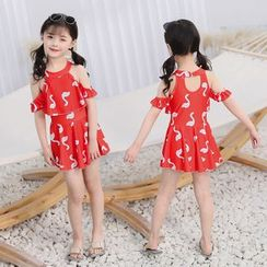 Atrov - Kids Short-Sleeve Cold Shoulder Cartoon Swan Swimdress
