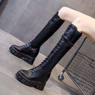 echoheaven - Lace Up Platform Knee-High Boots