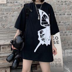 Cloud Nine - Butterfly Print Elbow-Sleeve T-Shirt