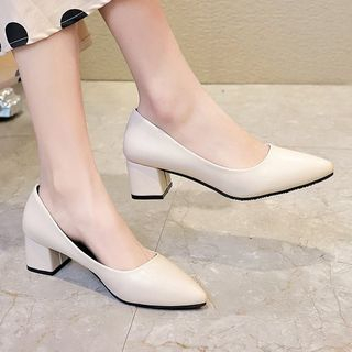 Weiya - Pointed Block Heel Pumps