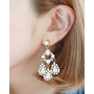 Miss21 Korea - Faux-Gem Chandelier Earrings