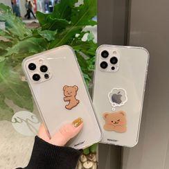 SIFFU(シフウ) - Bear Print Transparent Phone Case - iPhone 12 Pro Max / 12 Pro / 12 / 12 mini / 11 Pro Max / 11 Pro / 11 / SE / XS Max / XS / XR / X / SE 2 / 8 / 8 Plus / 7 / 7 Plus