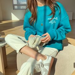 Envy Look - Drop-Shoulder Letter Print Sweatshirt