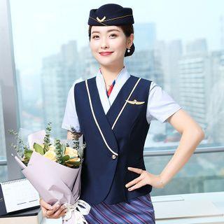 Skyheart(スカイハート) - Single Breasted Vest / Short-Sleeve V-Neck Shirt / Dress Pants / Mini Pencil Skirt / Brooch / Set