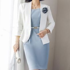 Aision - Peplum Blazer/ Sleeveless Sheath Dress/ Long-Sleeve Dress/ Set