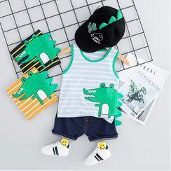 Mini Bae - Kids Set: Striped Alligator Print Tank Top + Denim Shorts