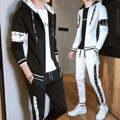 Nightbell - Set: Hooded Zip Jacket + Harem Pants