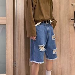 Filmas - 高腰撕破牛仔直筒短褲