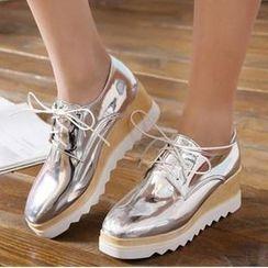 幸福鞋坊 - 方形鞋头厚底船跟牛津鞋