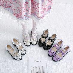 Chunki - 蝴蝶结多带平跟鞋