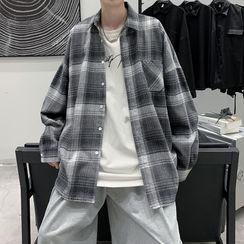 Soulcity - 飾口袋格子寬鬆長袖襯衫