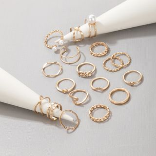 Yongge - Set of 18: Faux Pearl / Alloy Open Ring (assorted designs)
