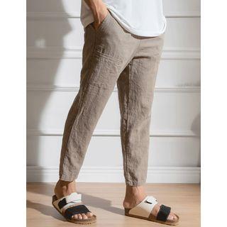 STYLEMAN - Drawstring-Waist Linen Blend Straight-Cut Pants