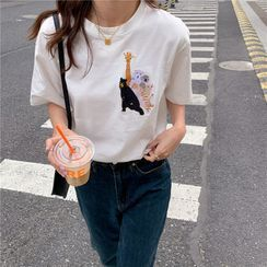 Luna Rouge - Short-Sleeve Embroidered T-Shirt