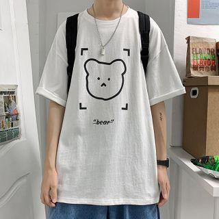 YERGO - 短袖熊印花宽松T裇