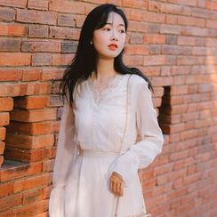 sansweet - Long-Sleeve Midi  A-Line Chiffon Dress