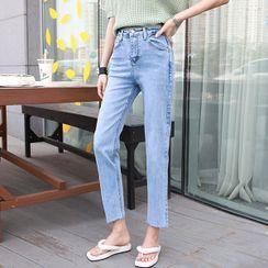 Seoul Fashion(ソウルファッション) - Fray-Hem Straight-Cut Jeans