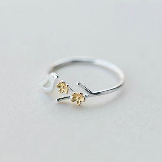 Gaya - 925纯银小鸟及花朵开口戒指