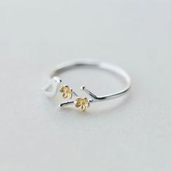 Gaya - 925 Sterling Silver Bird & Flower Open Ring