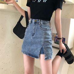 Dshe - Butterfly Print Short-Sleeve T-Shirt / Mini Pencil Denim Skort
