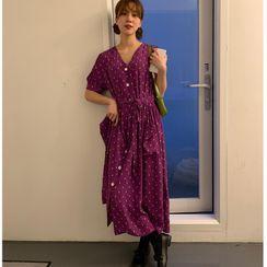 Windcatcher - Flower Print Short-Sleeve Midi Shift Dress