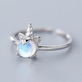 A'ROCH - 925 Sterling Silver Bead Unicorn Open Ring