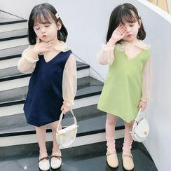 Ohori - Kids Set: Long-Sleeve Sheer Blouse + Pinafore Dress