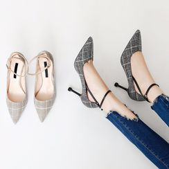 Aneka - Plaid Ankle-Strap Pointy-Toe Pumps
