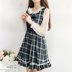 Astarte - Ruffled Long-Sleeve Mesh Top / Plaid Mini A-Line Pinafore Dress