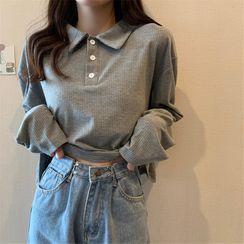 Oolun - Long-Sleeve Plain Polo Shirt