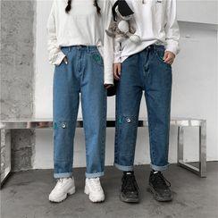 Cowpow - Cartoon Embroidered Straight-Cut Jeans