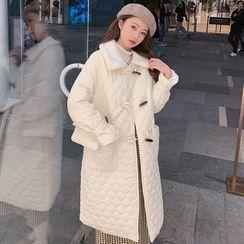 Dayce - 套装: 绒领绗缝长款牛角扣大衣 + 斜挎包
