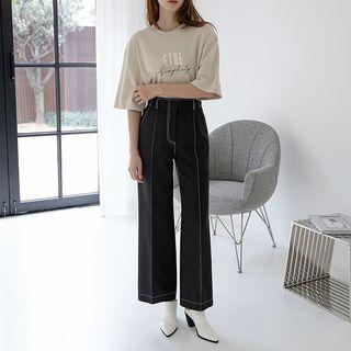 NAIN - High-Waist Stitched Wide-Leg Pants