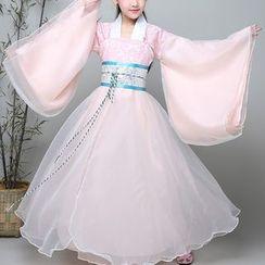 Snow Hymn - Kids Hanfu Set: Bell-Sleeve Top + Dress + Corset Belt