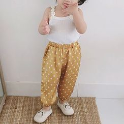 MOM Kiss - Baby Flower Strap Camisole Top / Pattern Harem Pants