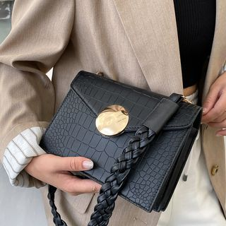 Faneur - Faux Croc Grain Flap Shoulder Bag